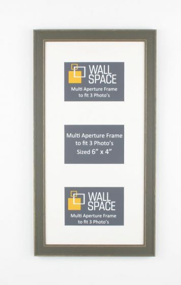 Grey Vintage Multi Aperture Frame to fit 3 Photo's