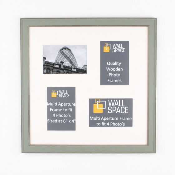 Square Green Multi Aperture Frame to fit 4 Photo's