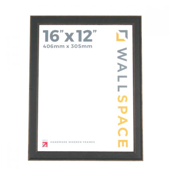16 x 12 - Vintage Shabby Chic Distressed Frame - Black