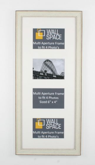 White Vintage Multi Aperture Frame to fit 4 Photo's