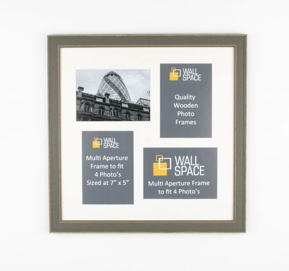 Square Grey Multi Aperture Frame to fit 4 Photo's