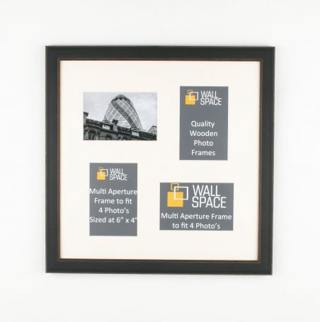 Square Black Multi Aperture Frame to fit 4 Photo's