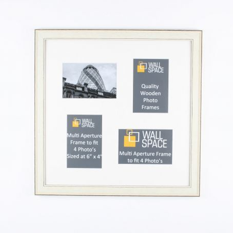Square White Multi Aperture Frame to fit 4 Photo's