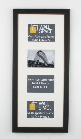 Black Vintage Multi Aperture Frame to fit 4 Photo's