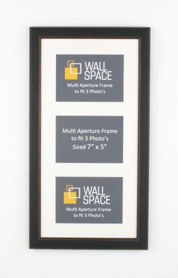 Black Vintage Multi Aperture Frame to fit 3 Photo's
